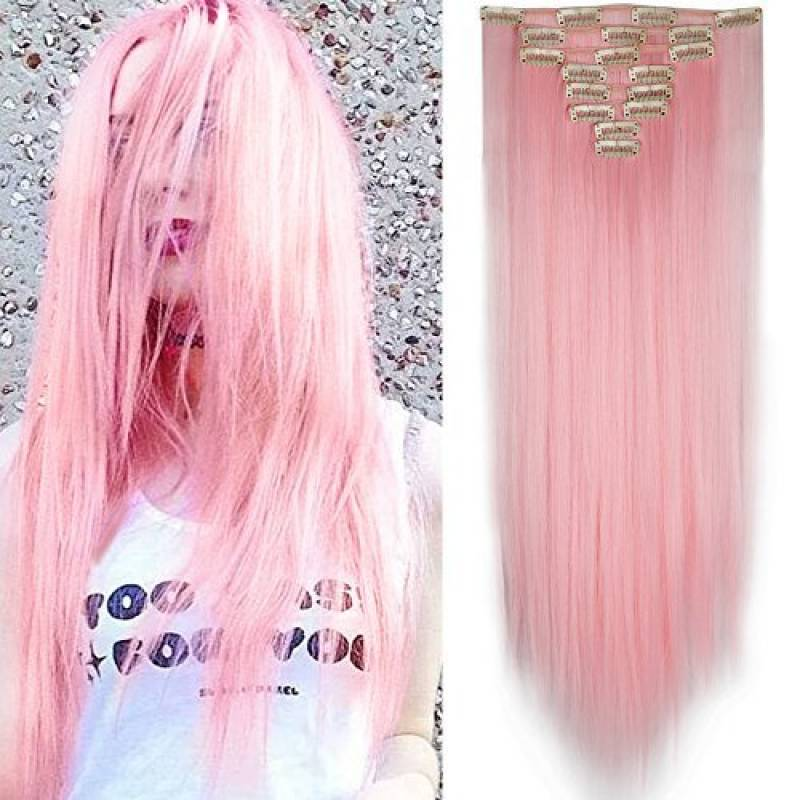 test extension cheveux rose